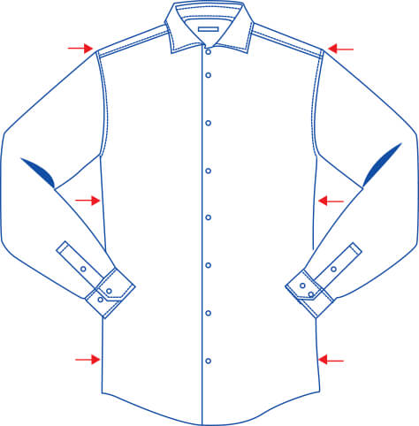 shaped fit shirt diagram