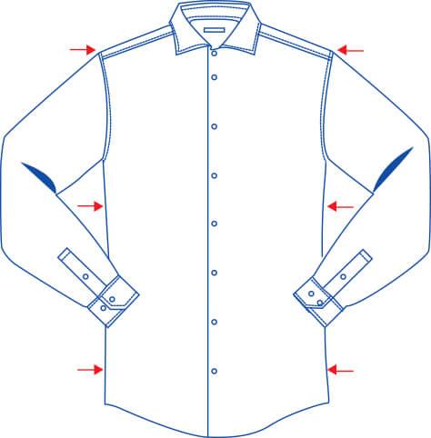 shaped fit shirt diagram